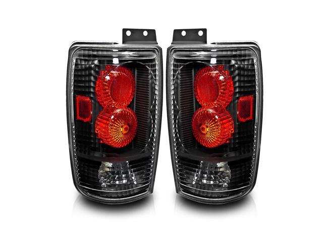 97 02 Ford Expedition Tail Lights Black Housing Clear Lens Lamps Pair