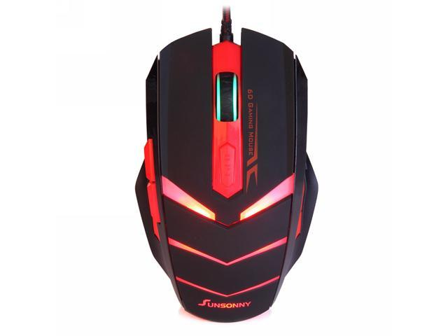 Sunsonny TM50 USB 2.0 Wired / 6 Button / 600~1000~1600 dpi LED Red Light Gaming Mouse - Black