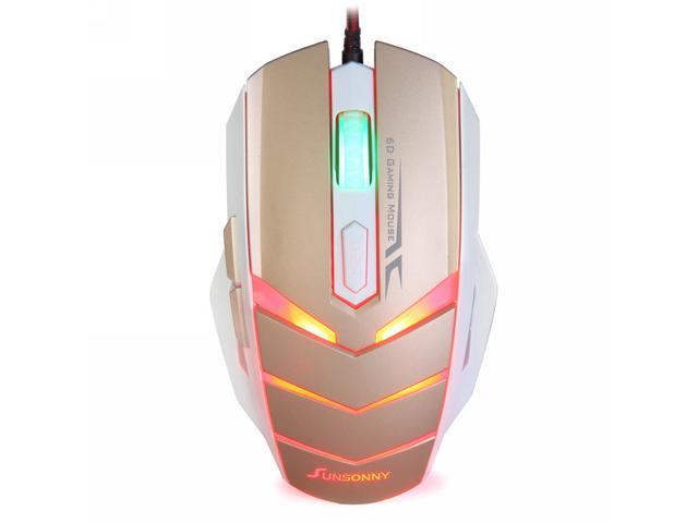 Sunsonny TM50 USB 2.0 Wired / 6 Button / 600~1000~1600 dpi LED Red Light Gaming Mouse - White