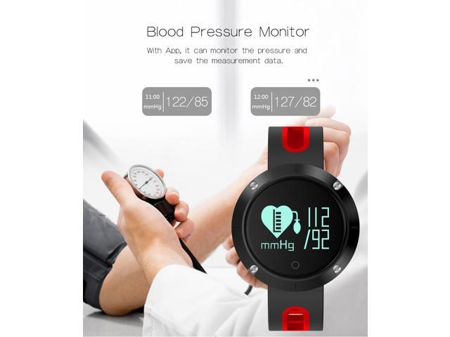 Makibes DM58 Smart Watch Bluetooth Heart Rate Blood Pressure Monitor Health  Tracker IP68 Water Resistant Compatible with iOS Android - Red - Newegg ca