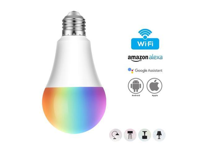 2pcs Geekbes E26 Smart WiFi LED Bulb 10W 900 Lumen APP Control 1600W RGB Color Light Works with Alexa and Google Home - White