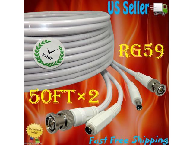 Power /& Video Cable for Security CCTV Black 50ft use//Zmodo//Swann//Qsee//Lorex