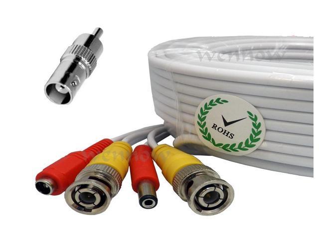 White Premium Quality 100 Feet Video Power BNC RCA Cable for Q-See CCTV Cameras
