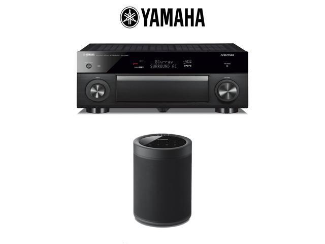 Yamaha AVENTAGE RX-A1080 7 2-Channel 4K Network AV Receiver + (1) Yamaha  WX-021 MusicCast 20 Wireless Speaker (Black) with Alexa Control - Bundle -