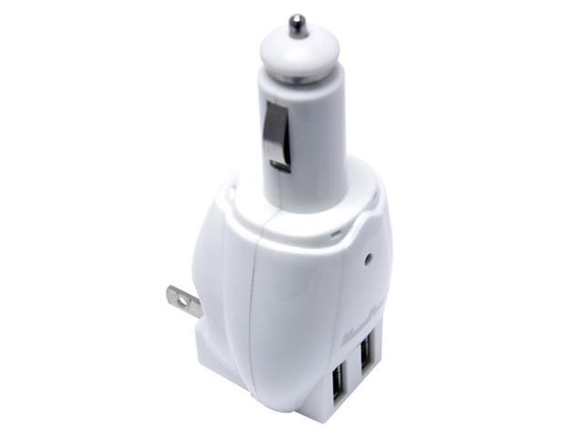 Maximal White 3 In 1 Universal Dual Usb Charger For Car Dc Cigarette Lighter