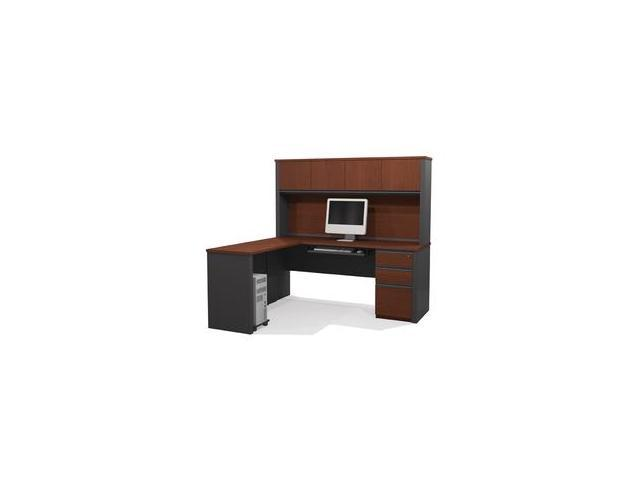 Bestar 99881 39 Prestige L Shaped Workstation Kit Including Assembled Pedestal In Bordeaux