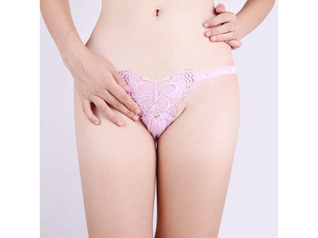 d634a24833 Demarkt® New Sexy Women s Lingerie Butterfly Front T-back Thongs G String  See Through Underwear Knickers Pants for Ladies Sleepwear Nightwear Pink