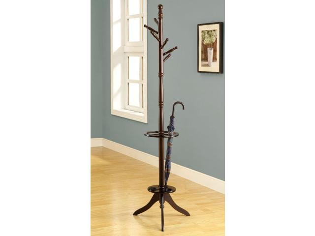 Cappuccino Solid Wood Coat Rack With An Umbrella Holder Neweggcom