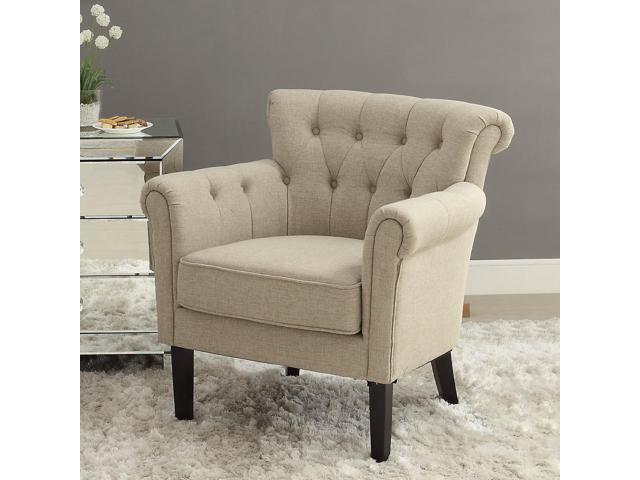 Awesome Homelegance Barlowe Upholstered Accent Chair In Linen Theyellowbook Wood Chair Design Ideas Theyellowbookinfo