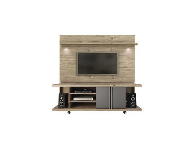 Manhattan Comfort 2-1456881461 1 8 Carnegie TV Stand & Park Floating Wall  TV Panel with LED Lights, Nature & Onyx - Newegg com