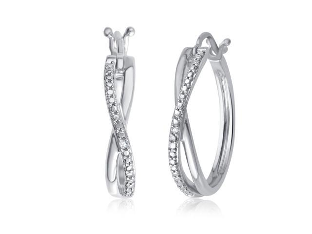 3ccfc768bbf16 Genuine 0.01 Carat Natural Diamond Accent Twisted Hoop Earrings In 14K  White Gold Plated - Newegg.com