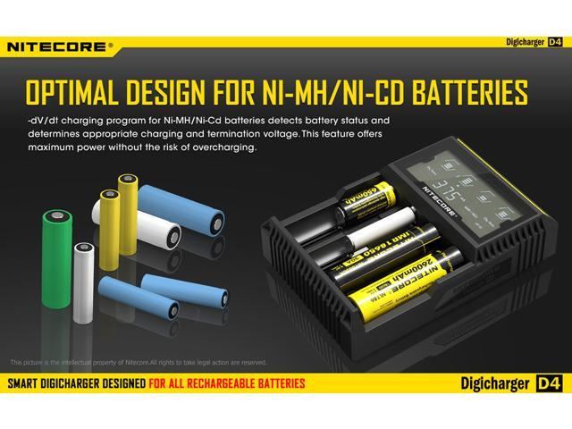 Nitecore D4 Digital Battery Charger Analyzer Tester With Lcd Display For Aa Aaa C D 26650 22650 18650 17670 18490 17500 18350 16340 Rcr123 14500 10440 Li Ion Nimh Nicd Rechargeable Batterie Newegg Com
