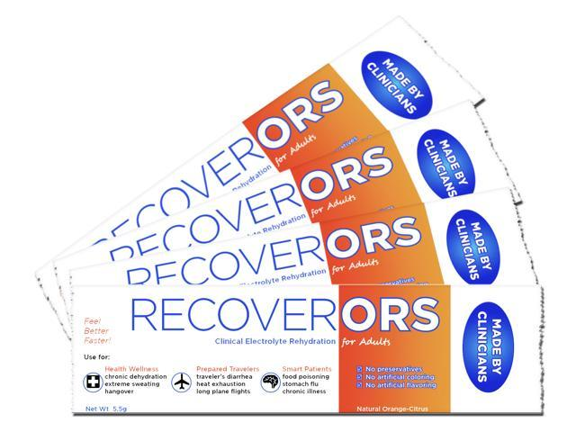 RecoverORS Adult Clinical Rehydration Powder for Hangovers, Food Poisoning, Diarrhea (4 Pack)