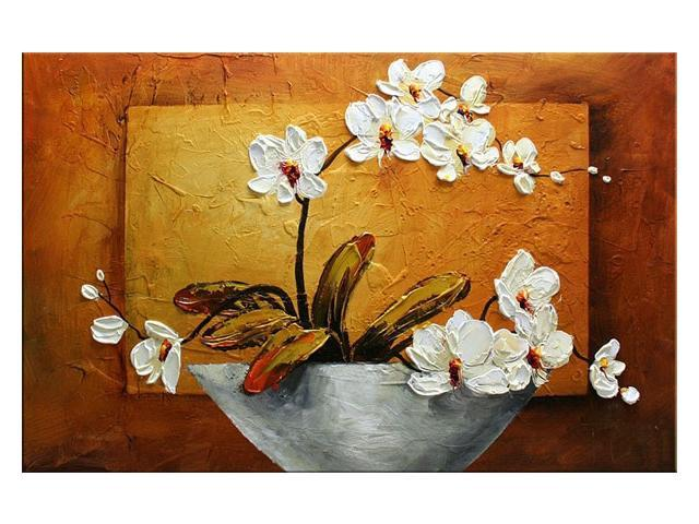 Wieco Art Orchid 100 Hand Painted Modern Canvas Wall Art Floral Oil Paintings On Canvas For Wall Decor Abstract Flower Oil Painting On Canvas Wall