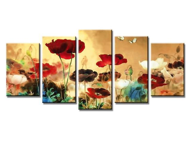 Wieco Art - Blooming Poppies - Canvas Print Stretched and Framed ...