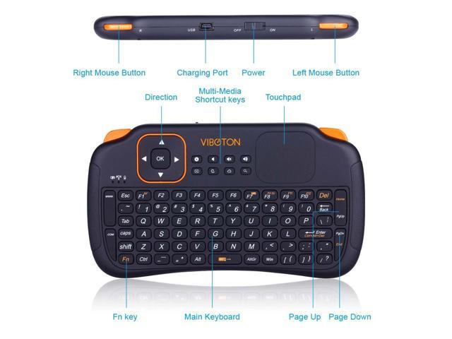 VIBOTON Mobile Wireless Keyboard Mini USB Gaming Small Keyboards with  Touchpad Best Ergonomic Smart TV Keyboards Support  Android,Linux,Windows,Control