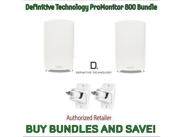 Definitive Technology ProMonitor 800 Bookshelf Speakers Pair White Pro Mount