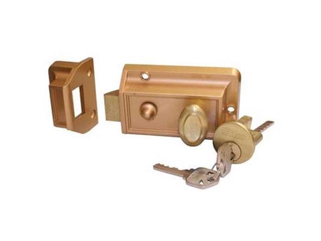 Ilco I220-53-51 Bronze Surface Mount Night Latch Slam Lock With Angle  Strike Plate And Kwikset KW1 Keyway - Newegg com