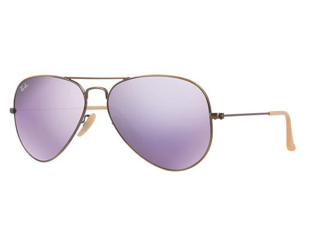 b1f086ffb9f32 Ray Ban RB3025 Aviator Flash Sunglasses - Demiglos Brushed Bronze Frame    Lilac Mirror Lenses