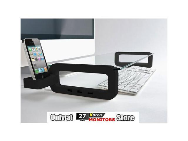 Tempered Glass Monitor Stand Shelf Usb, Glass Monitor Stand