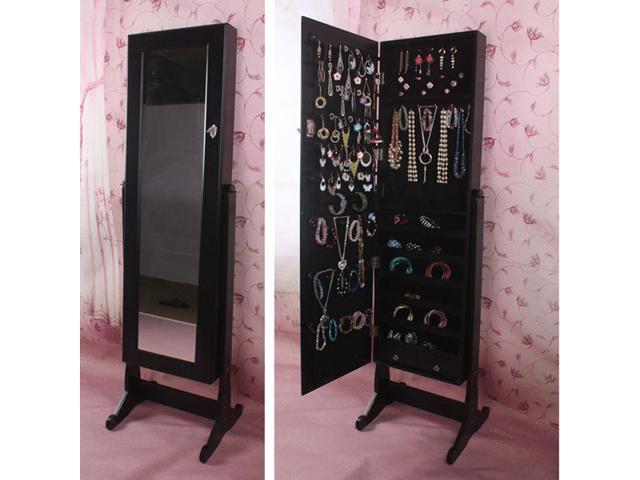 BTEXPERT® Premium Wooden Jewelry Armoire Cabinet Cheval Mirror Box Stand  Organizer Storage Holder Case Full