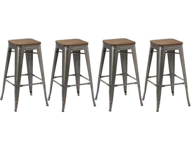 le dernier 47fc2 067db BTEXPERT® 30-inch Industrial Stackable Tabouret Metal Vintage Antique Style  Clear Brush Distressed Counter Bar Stool Modern wood top seat (Set of 4 ...