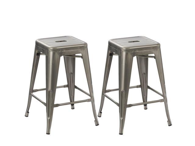 Brilliant Btexpert 24 Inch Industrial Antique Clear Brush Distressed Metal Bar Stools Stackable Tabouret Dining Room Set Of Two Uwap Interior Chair Design Uwaporg