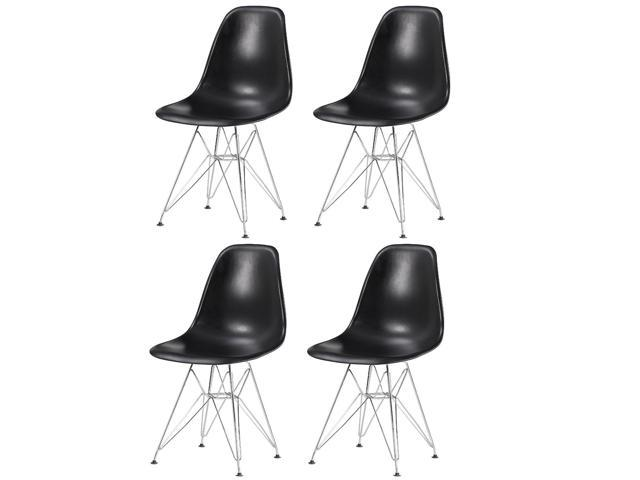 Miraculous Btexpert Four Chrome Wire Dowell Legs Dining Room Side Chair Black Dsr Set Of 4 Andrewgaddart Wooden Chair Designs For Living Room Andrewgaddartcom