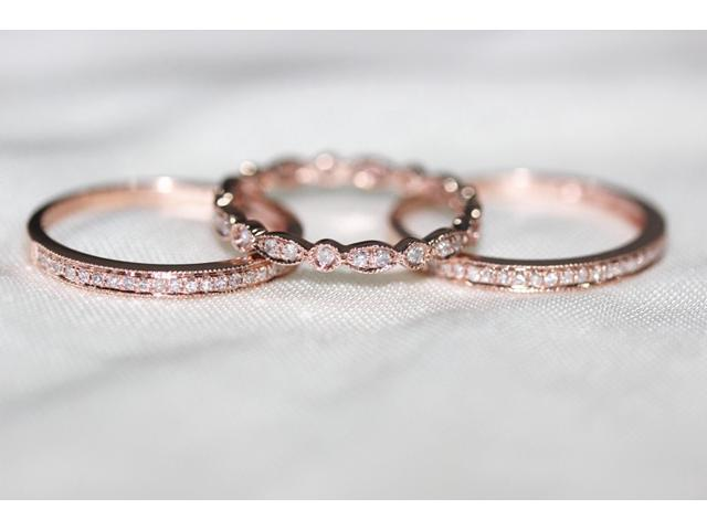 Rose Gold Wedding Ring.3 Ring Set Rose Gold Ring Rose Gold Wedding Ring Diamond Ring Diamond Wedding Band Diamond Engagement Ring Half Eternity Full Eternty Newegg Com
