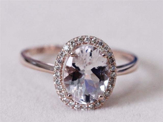 Halo Diamond Oval Morganite Ring 14k Rose Gold Engagement Ring Wedding Ring  Gemstone Engagement Ring