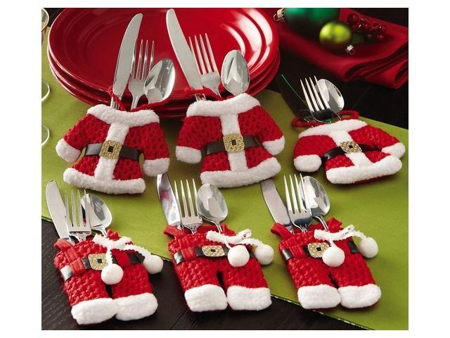 collections etc santa suit christmas silverware holder pockets - Www Collectionsetc Com Christmas