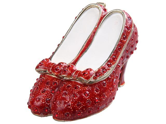 Ruby Slipper Bejeweled Jewelry Box Red Dance Shoes Gold Faberge Fashion Shoe Trinket Metal Vintage