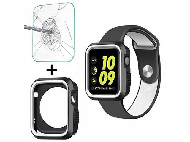 quality design e2de9 2e62e Tempered Glass Screen Protector+Silicone Bumper Case for Apple Watch Series  1/2/3 iWatch 38mm — Black/Grey - Newegg.com