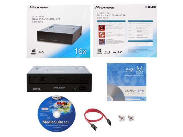 Pioneer BDR-2209 16X M-Disc Blu-ray BDXL CD DVD Internal Burner Writer  Drive + FREE 1pk Mdisc BD + CyberLink Software Disc + Cable & Mounting  Screws