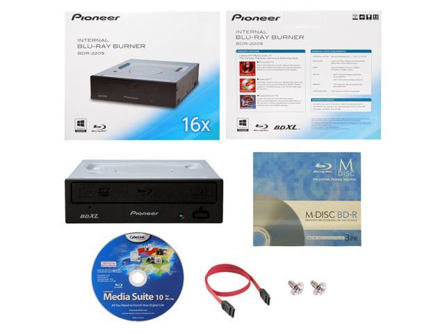 Pioneer BDR-2209 16X M-Disc Blu-ray BDXL CD DVD Internal Burner Writer  Drive + FREE 3pk Mdisc BD + CyberLink Software Disc + Cable & Mounting  Screws -