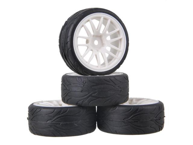 4x RC1:10 On-Road Car Fish Pattern 65mm Rubber Tire Grey Alloy 7-Spoke Wheel Rim