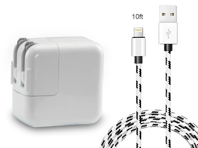 iPad iPhone Charger, 12W 2.4A USB Wall Charger Foldable Portable Travel Plug with 10FT Braided Lightning Cable for iPhone X 8 8Plus 7 7Plus 6s 6sPlus