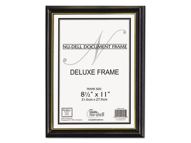 Value Pack Deluxe Wood Document Frames 8.5 x 11 Black w/Gold Stripe ...