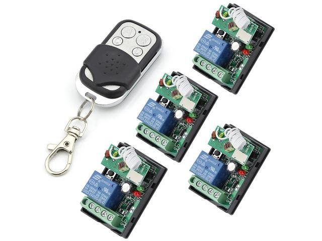 RF 24V One Transmitter with 4X 1 Channel Relays Smart Wireless Remote  Control Switch Black&White Color Transmitter with 4 Keys - Newegg com