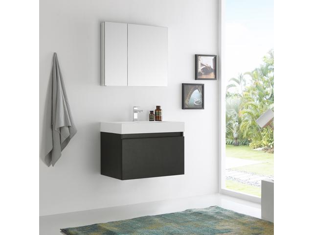 Fresca Mezzo 30 Black Wall Hung Modern Bathroom Vanity With Medicine Cabinet Newegg Com