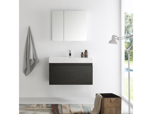 Fresca Mezzo 36 Black Wall Hung Modern Bathroom Vanity With