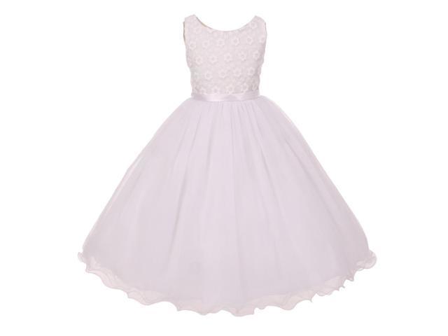 Kids Dream Little Girls White Tulle Layers Satin Sash Flower Girl