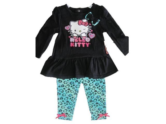 Hello kitty baby girls black blue leopard spot glittery applique