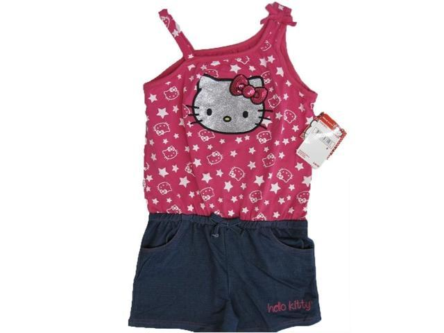 Hello kitty little girls fuchsia blue star glittery applique romper 6