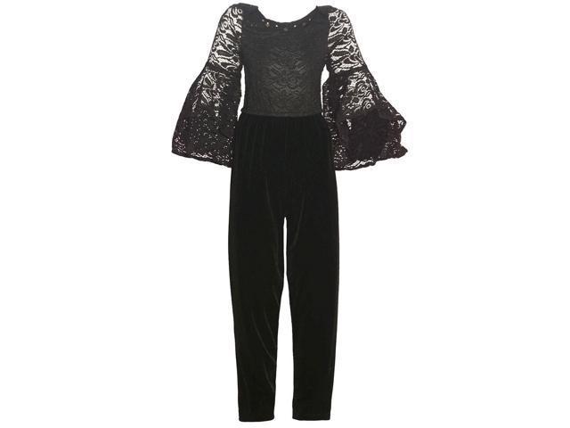 4f2f2796939b Bonnie Jean Big Girls Black Lace Flared Long Sleeve Keyhole Jumpsuit ...