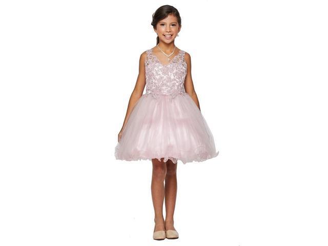 f580d1fa6 Big Girls Dusty Rose Rhinestone Pearl Beaded Tulle Junior Bridesmaid Dress  10