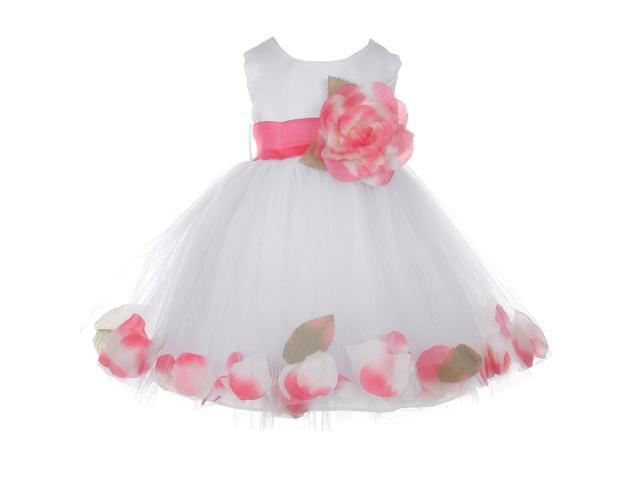 6c987f5a93 Baby Girls White Coral Petal Adorned Satin Tulle Flower Girl Dress 24M