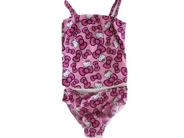 5372ae9b68 Sanrio Little Girls Pink Hello Kitty Bow Allover Print One Piece Swimsuit 6X