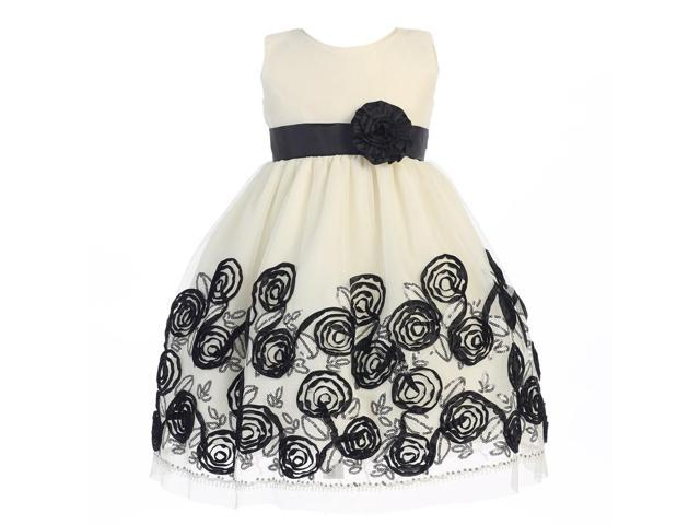 b9482e1067c6 Lito Little Girls Black Satin Ribbon Roses Tulle Christmas Dress 4T ...