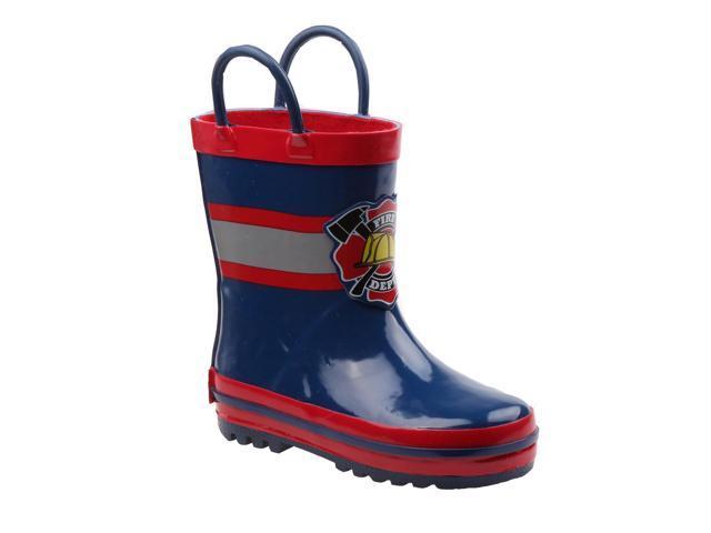 Rugged Bear Little Boys Navy Red Fire Dept Print Rain Boots 8 Toddler Newegg Com